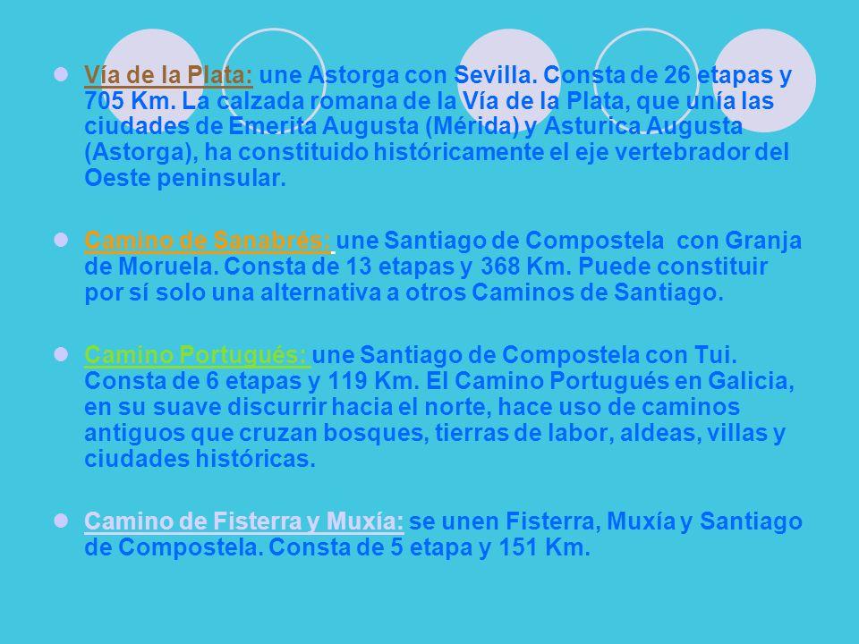 Vía de la Plata: une Astorga con Sevilla. Consta de 26 etapas y 705 Km. La calzada romana de la Vía de la Plata, que unía las ciudades de Emerita Augu