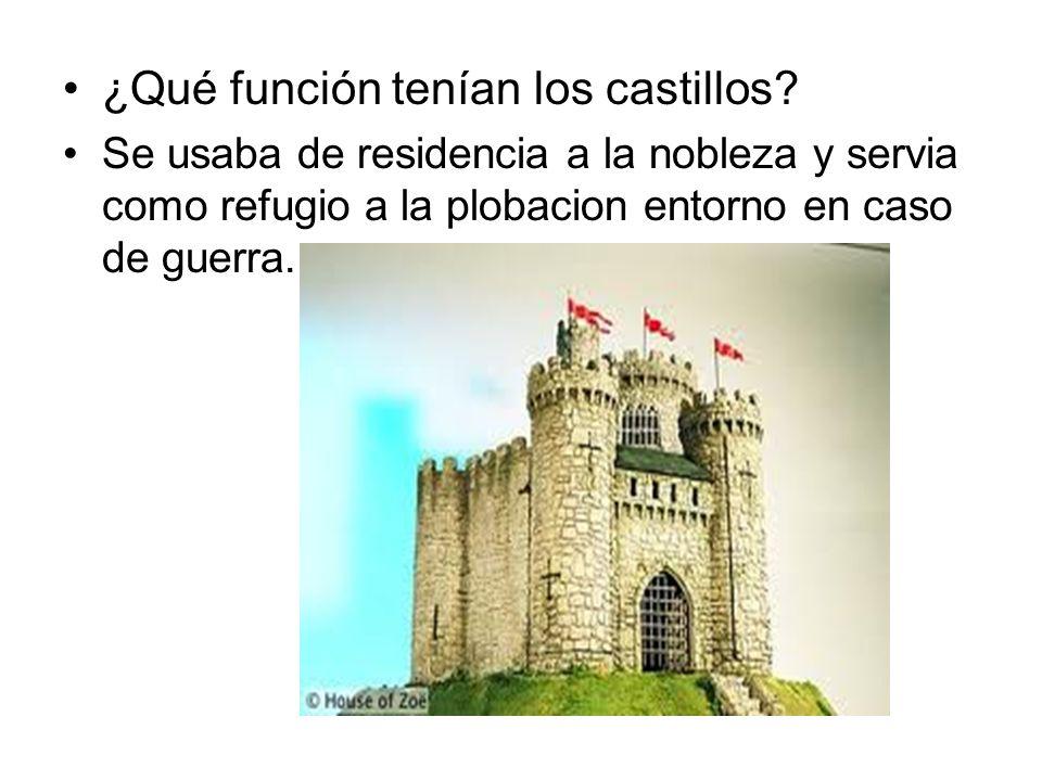 ¿Qué función tenían los castillos? Se usaba de residencia a la nobleza y servia como refugio a la plobacion entorno en caso de guerra.