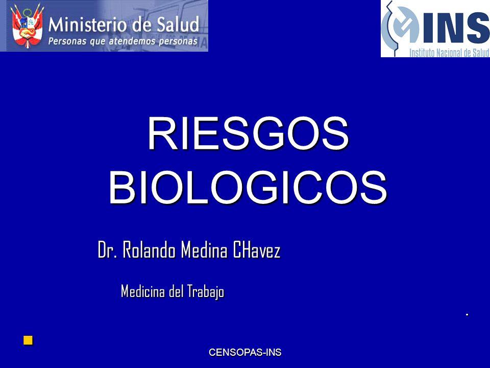 CENSOPAS-INS RIESGOS BIOLOGICOS Dr. Rolando Medina CHavez Dr. Rolando Medina CHavez Medicina del Trabajo Medicina del Trabajo.