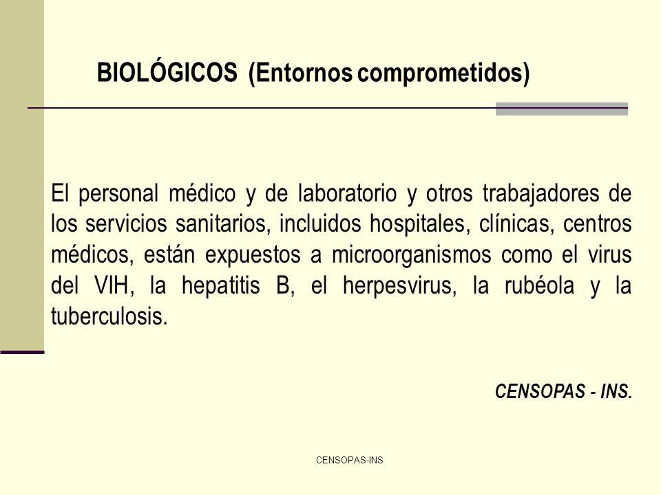 CENSOPAS-INS BIOLÓGICOS (Entornos comprometidos) El personal médico y de laboratorio y otros trabajadores de los servicios sanitarios, incluidos hospi