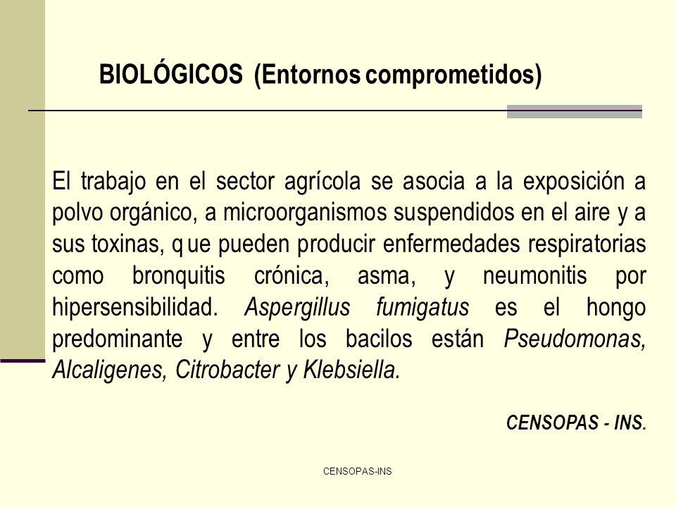 CENSOPAS-INS BIOLÓGICOS (Entornos comprometidos) El trabajo en el sector agrícola se asocia a la exposición a polvo orgánico, a microorganismos suspen