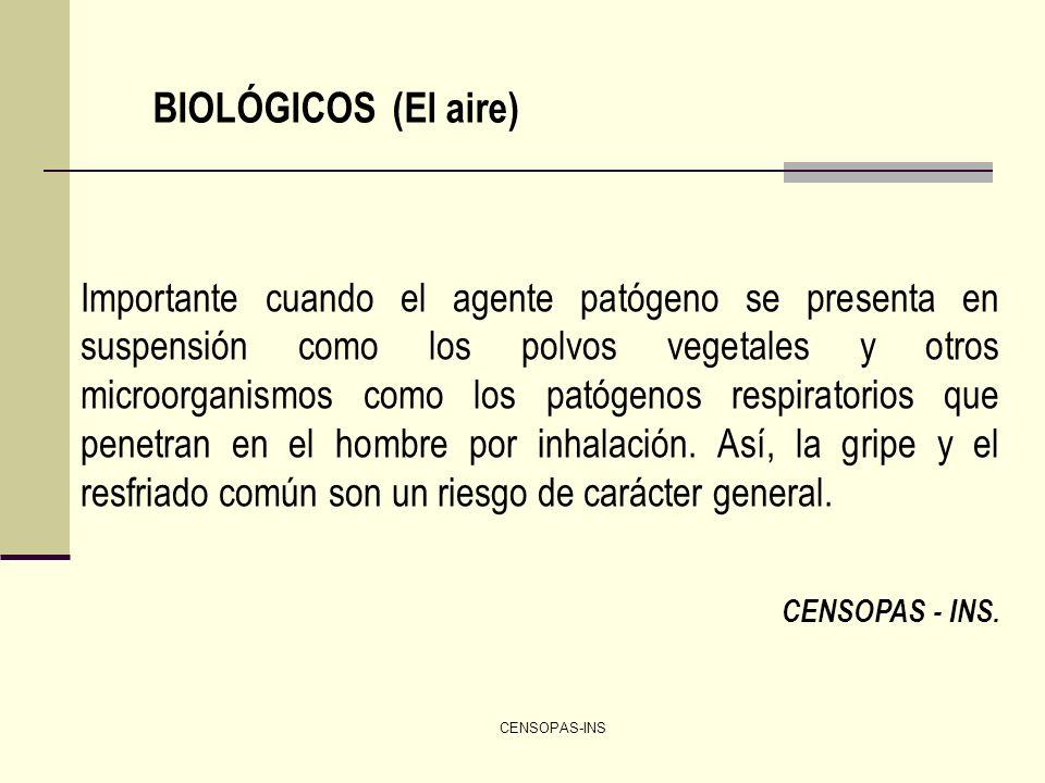 CENSOPAS-INS BIOLÓGICOS (El aire) Importante cuando el agente patógeno se presenta en suspensión como los polvos vegetales y otros microorganismos com