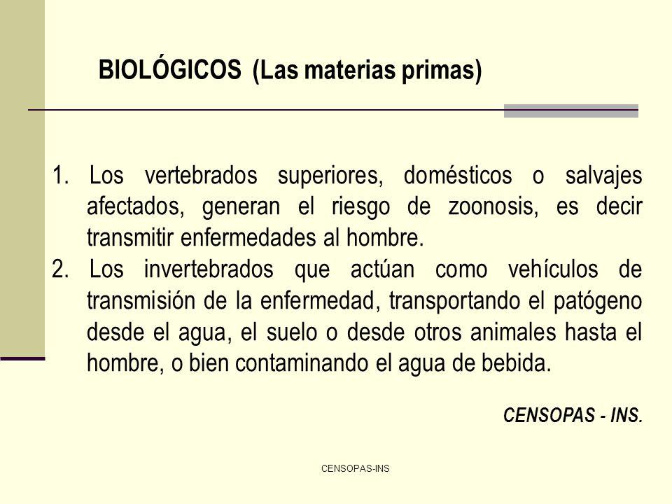 CENSOPAS-INS BIOLÓGICOS (Las materias primas) 1. Los vertebrados superiores, domésticos o salvajes afectados, generan el riesgo de zoonosis, es decir
