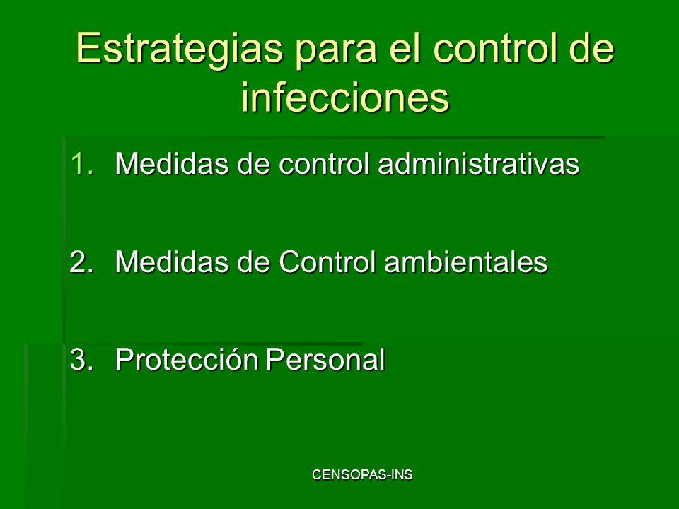 CENSOPAS-INS Estrategias para el control de infecciones 1.Medidas de control administrativas 2.Medidas de Control ambientales 3.Protección Personal