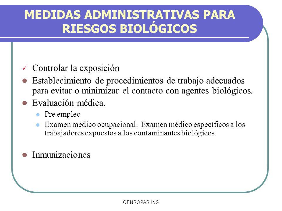 CENSOPAS-INS MEDIDAS ADMINISTRATIVAS PARA RIESGOS BIOLÓGICOS Controlar la exposición Establecimiento de procedimientos de trabajo adecuados para evita