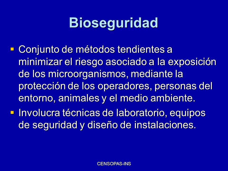 CENSOPAS-INS Bioseguridad Conjunto de métodos tendientes a minimizar el riesgo asociado a la exposición de los microorganismos, mediante la protección