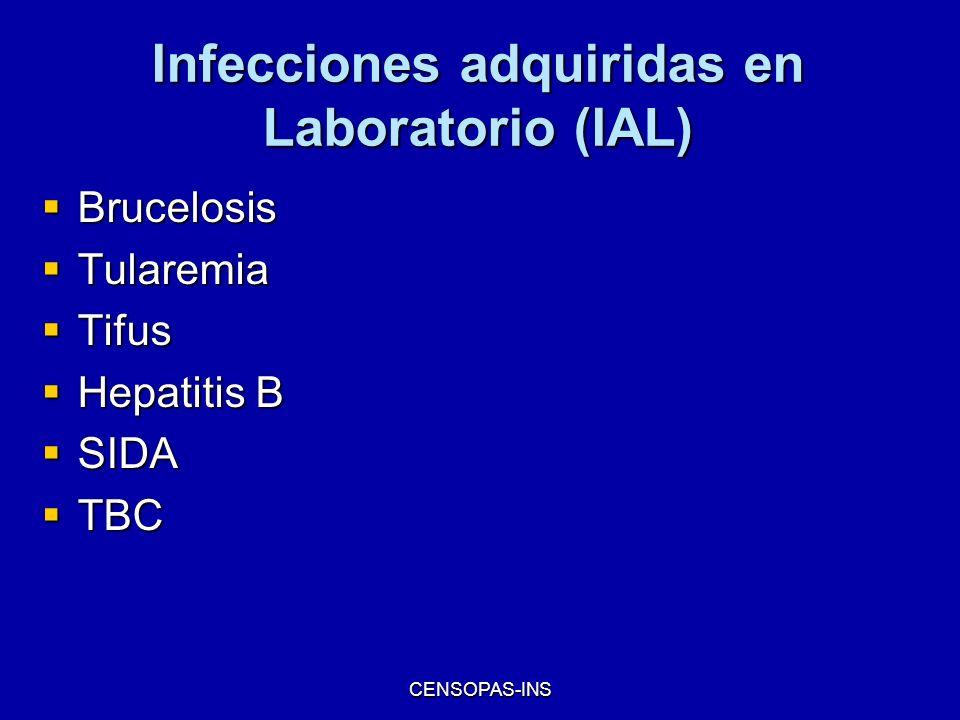 CENSOPAS-INS Infecciones adquiridas en Laboratorio (IAL) Brucelosis Brucelosis Tularemia Tularemia Tifus Tifus Hepatitis B Hepatitis B SIDA SIDA TBC T