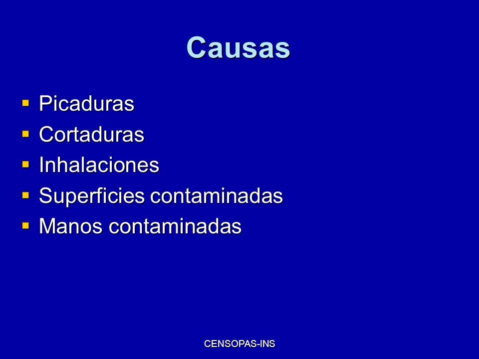 CENSOPAS-INS Causas Picaduras Picaduras Cortaduras Cortaduras Inhalaciones Inhalaciones Superficies contaminadas Superficies contaminadas Manos contam