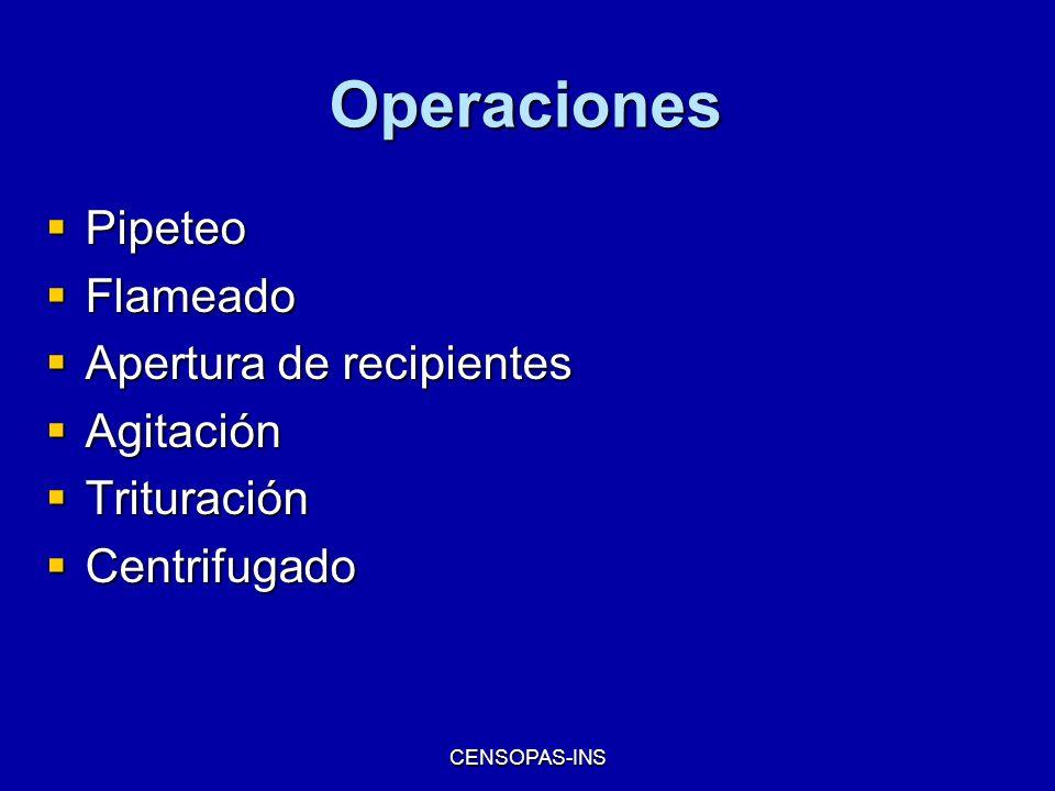 CENSOPAS-INS Operaciones Pipeteo Pipeteo Flameado Flameado Apertura de recipientes Apertura de recipientes Agitación Agitación Trituración Trituración