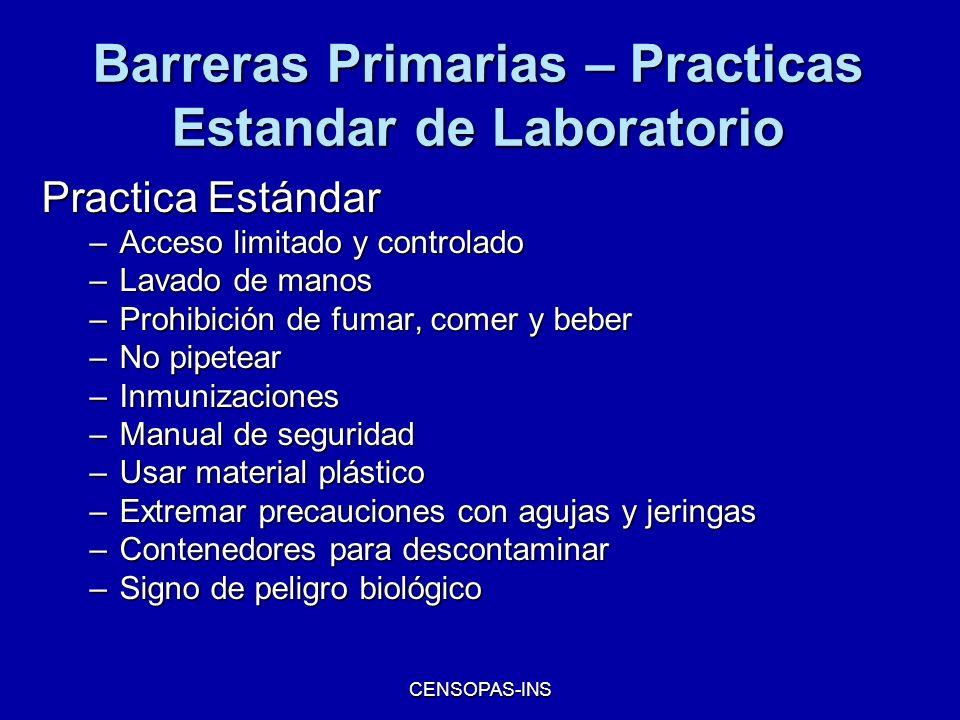 CENSOPAS-INS Barreras Primarias – Practicas Estandar de Laboratorio Practica Estándar –Acceso limitado y controlado –Lavado de manos –Prohibición de f
