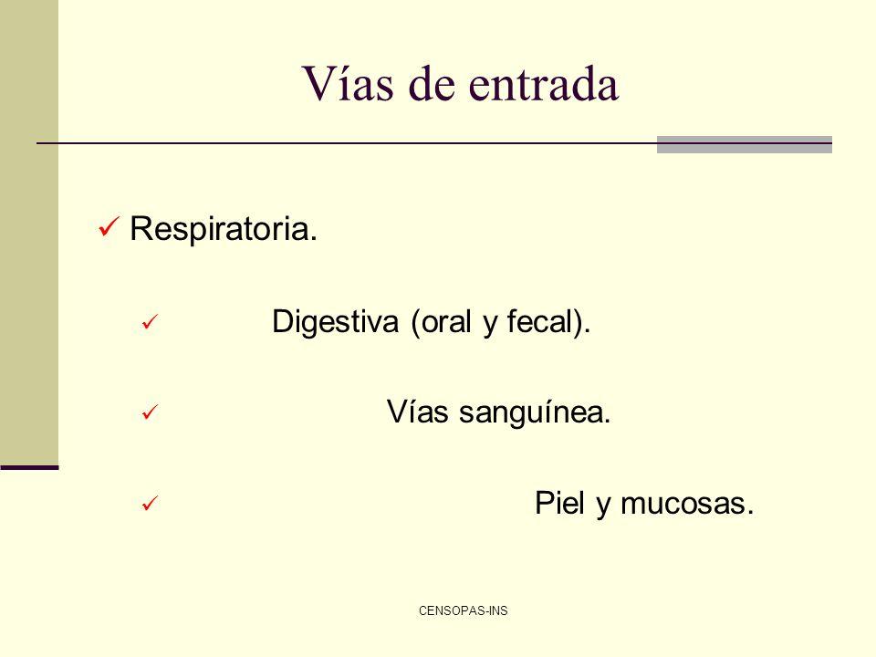 CENSOPAS-INS Vías de entrada Respiratoria. Digestiva (oral y fecal). Vías sanguínea. Piel y mucosas.