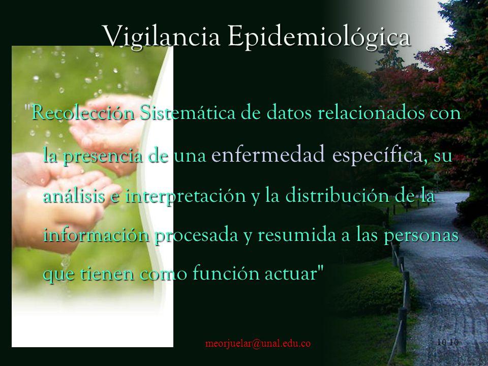 9meorjuelar@unal.edu.co9 Que es la Epidemiología La epidemiología trata del estudio de la distribución de las enfermedades, de sus causas, y de los de