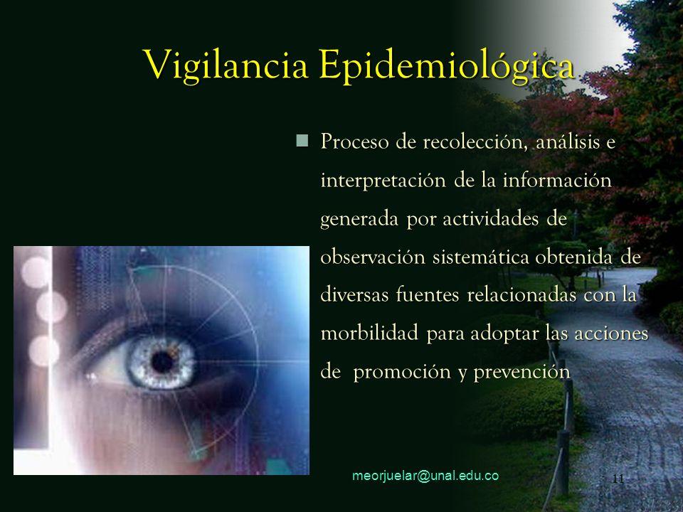 10 meorjuelar@unal.edu.co 10 Vigilancia Epidemiológica Recolección Sistemática de datos relacionados con la presencia de una, su análisis e interpreta