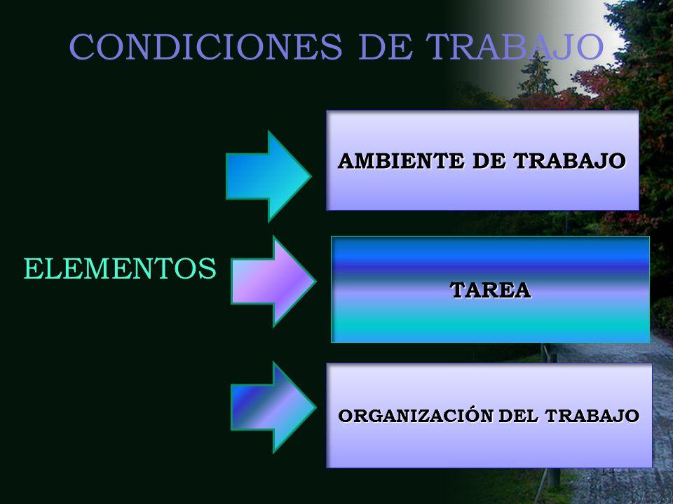 13 CONDICIONES DE TRABAJO Conjunto de variables que definen la realización de una tarea concreta y el entorno en que ésta se realiza, en cuanto que es