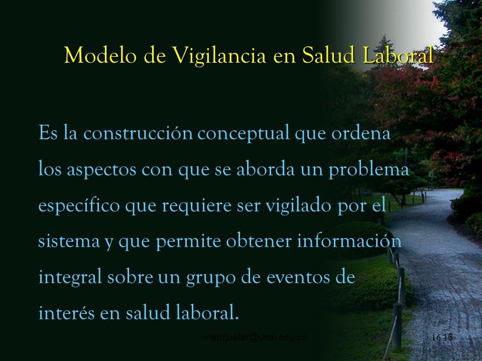 15 meorjuelar@unal.edu.co Vigilancia en Salud Ocupacional Recolección sistemática de datos relacionados con los efectos en la salud derivados de la ex