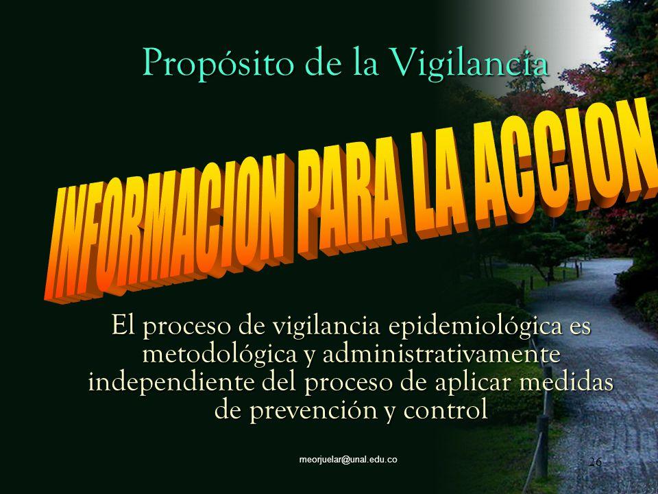 25meorjuelar@unal.edu.co Propósito de la Vigilancia Poder recomendar sobre bases objetivas y científicas, las medidas de acción a diferentes plazos pa