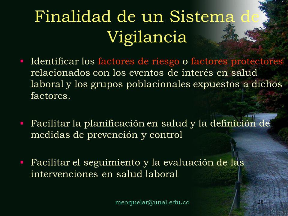27 FUNCIONES DEL SISTEMA DE VIGILANCIA OCUPACIONAL Obtener información básica respecto de los efectos adversos en la salud, derivados de las condicion