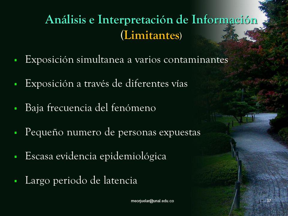 36 meorjuelar@unal.edu.co36 Análisis e Interpretación de Información ( Proceso ) Establecer los indicadores estadísticos y epidemiológicos Determinar