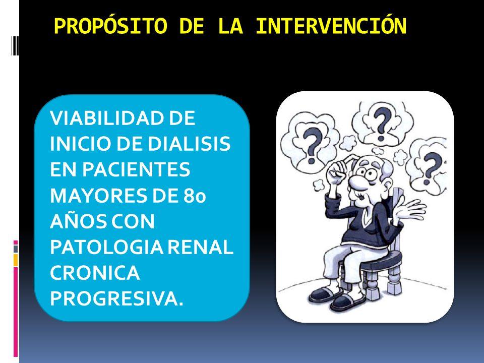 PROPÓSITO DE LA INTERVENCIÓN VIABILIDAD DE INICIO DE DIALISIS EN PACIENTES MAYORES DE 80 AÑOS CON PATOLOGIA RENAL CRONICA PROGRESIVA.