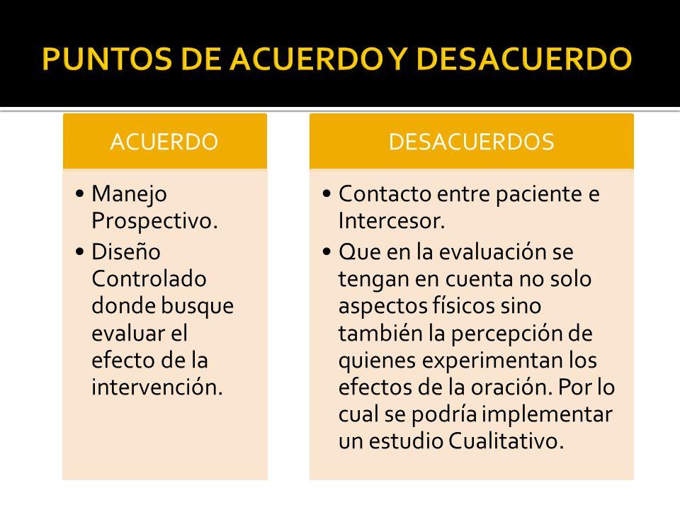 ACUERDO Manejo Prospectivo. Diseño Controlado donde busque evaluar el efecto de la intervención. DESACUERDOS Contacto entre paciente e Intercesor. Que