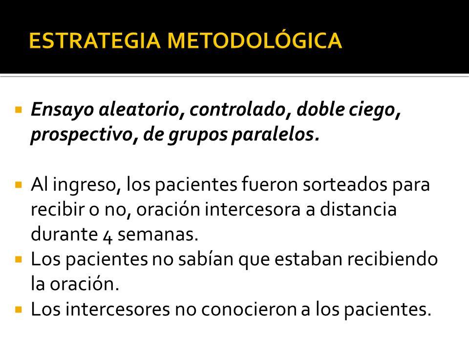 DISTRIBUCION AL AZAR (# PARES: ORACION; # IMPARES: NO ORACION) CON IGUAL PROBABILIDAD DE INGRESAR AL ESTUDIO ALEATORIO SE BUSCA RELACIONAR EL EFECTO DE LA ORACION EN LAS CONDICIONES CLINICAS DEL PACIENTE CONTROLADO LOS PARTICIPANTES DESCONOCEN QUE HACEN PARTE DEL ESTUDIO LA SECRETARIA,MEDICO E INTERCESORES DESCONOCEN DATOS DEL PACIENTE.