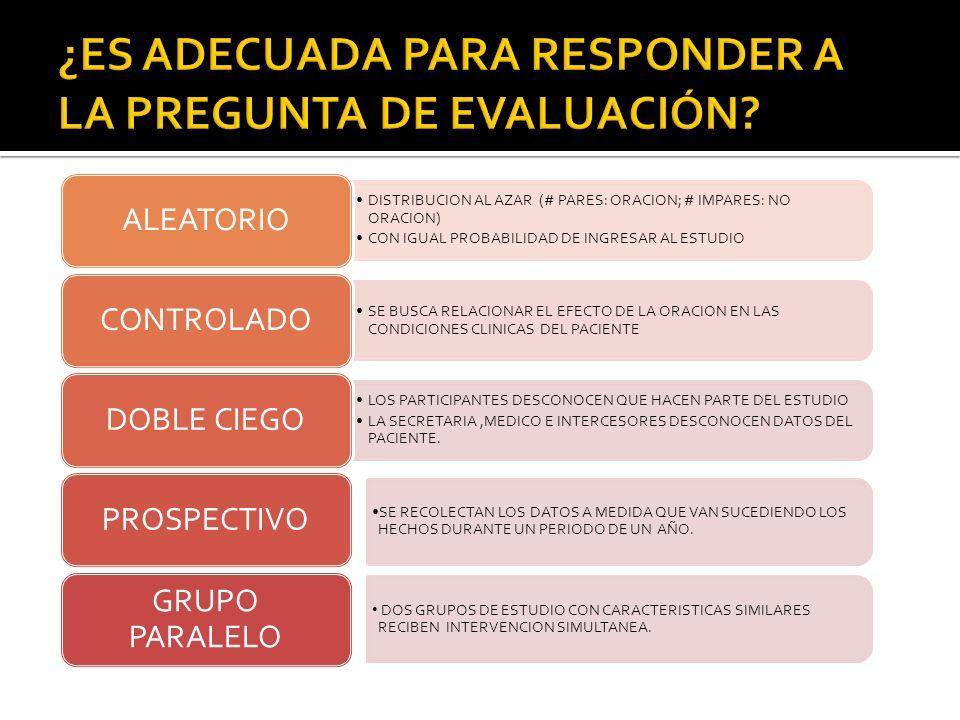 DISTRIBUCION AL AZAR (# PARES: ORACION; # IMPARES: NO ORACION) CON IGUAL PROBABILIDAD DE INGRESAR AL ESTUDIO ALEATORIO SE BUSCA RELACIONAR EL EFECTO D
