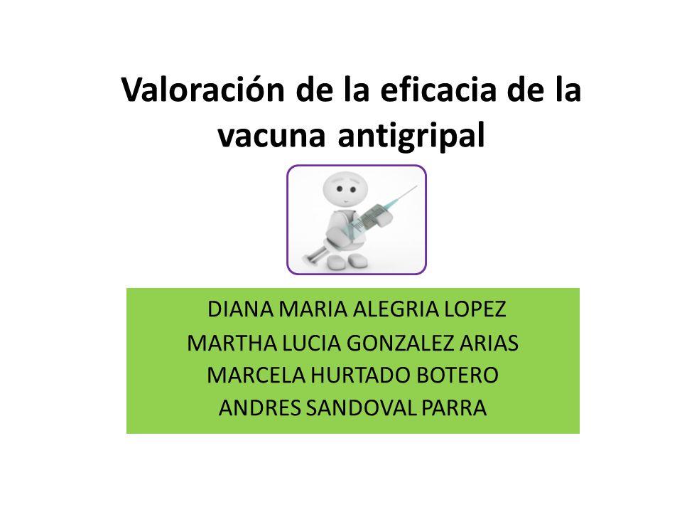 Valoración de la eficacia de la vacuna antigripal DIANA MARIA ALEGRIA LOPEZ MARTHA LUCIA GONZALEZ ARIAS MARCELA HURTADO BOTERO ANDRES SANDOVAL PARRA