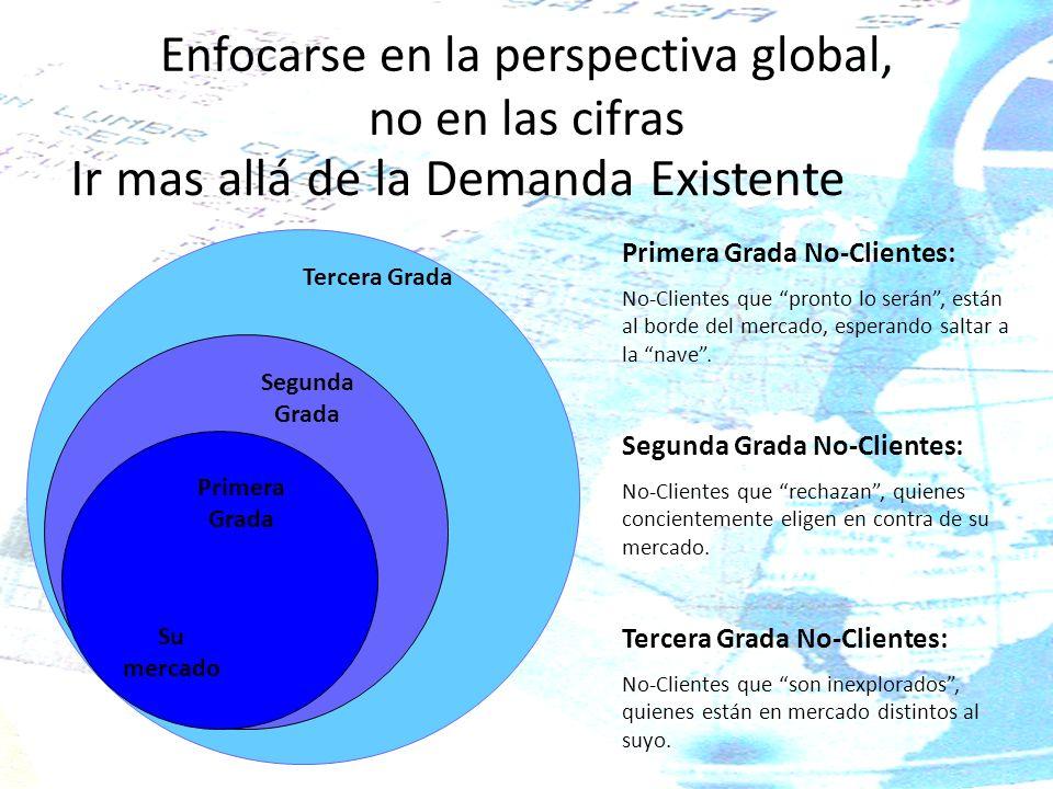 Enfocarse en la perspectiva global, no en las cifras Ir mas allá de la Demanda Existente Su mercado Primera Grada Segunda Grada Tercera Grada Primera