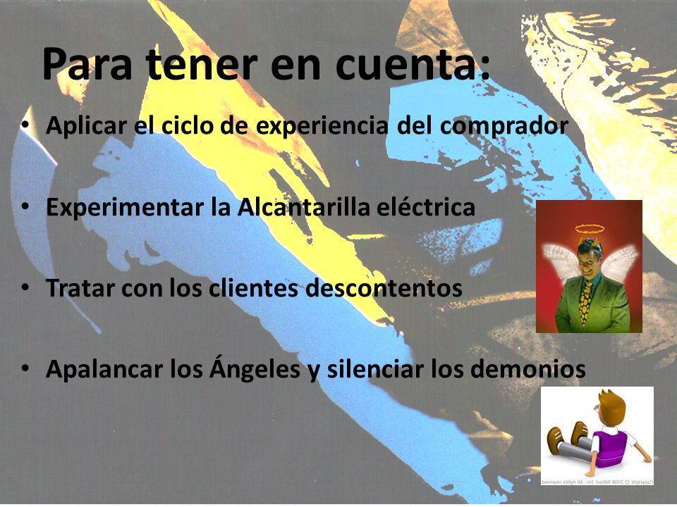 Para tener en cuenta: Aplicar el ciclo de experiencia del comprador Experimentar la Alcantarilla eléctrica Tratar con los clientes descontentos Apalan