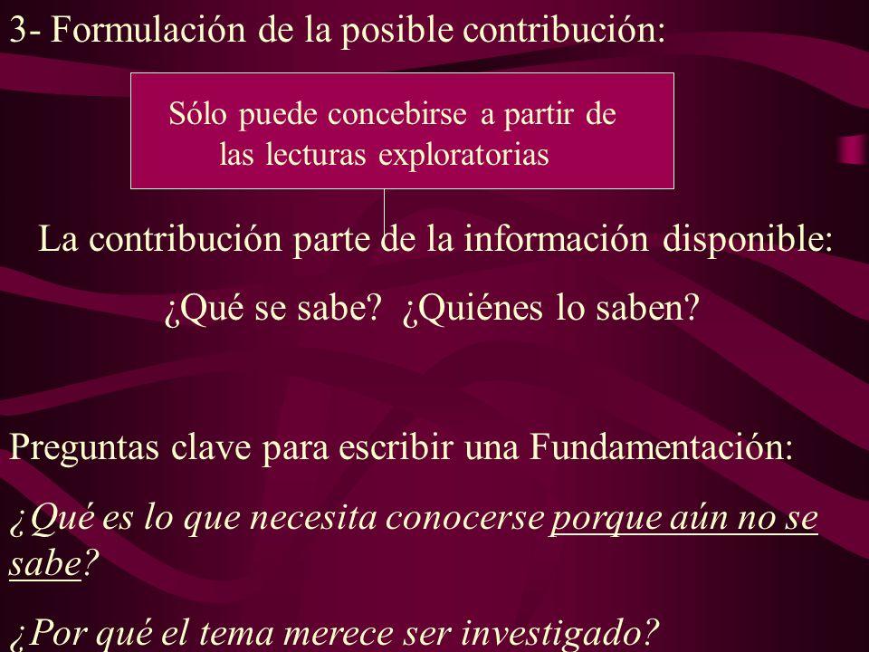 3- Formulación de la posible contribución: La contribución parte de la información disponible: ¿Qué se sabe.