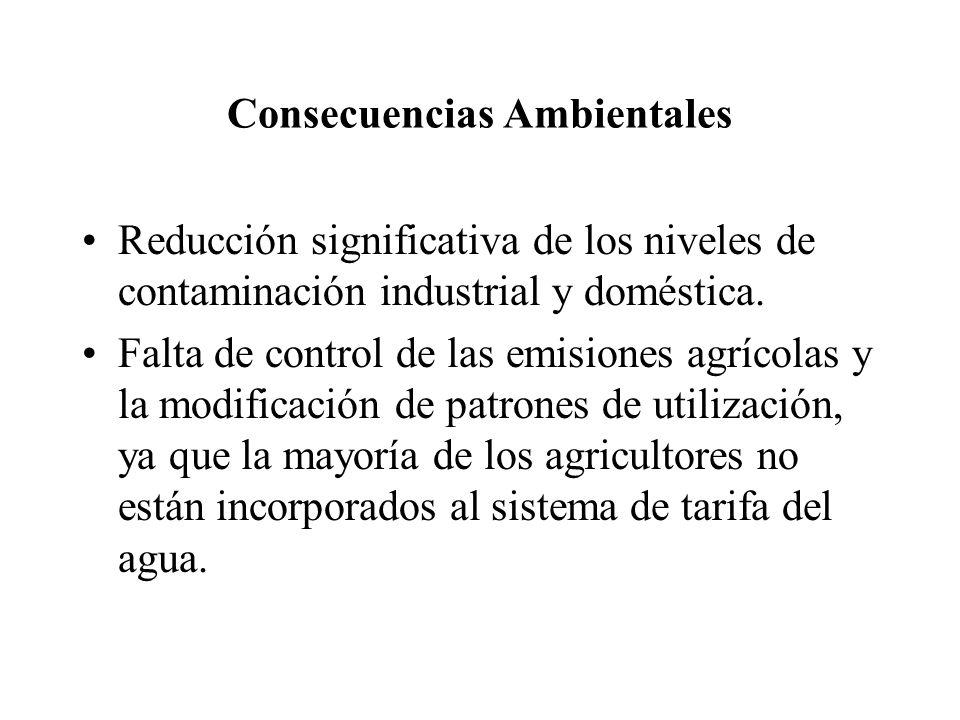 Consecuencias Ambientales Reducción significativa de los niveles de contaminación industrial y doméstica.