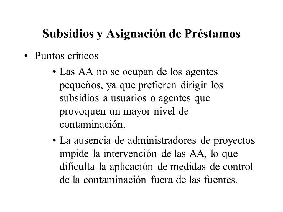 Subsidios y Asignación de Préstamos Puntos críticos Las AA no se ocupan de los agentes pequeños, ya que prefieren dirigir los subsidios a usuarios o agentes que provoquen un mayor nivel de contaminación.