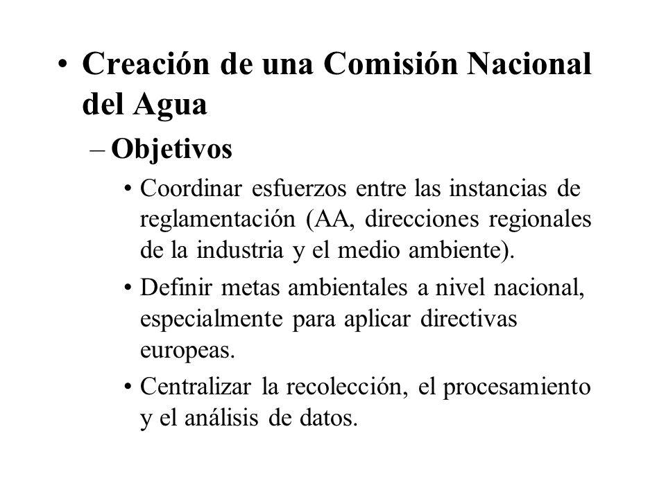 Creación de una Comisión Nacional del Agua –Objetivos Coordinar esfuerzos entre las instancias de reglamentación (AA, direcciones regionales de la industria y el medio ambiente).