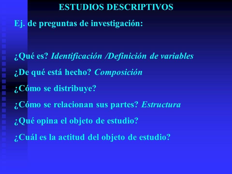ESTUDIOS DESCRIPTIVOS Ej. de preguntas de investigación: ¿Qué es? Identificación /Definición de variables ¿De qué está hecho? Composición ¿Cómo se dis