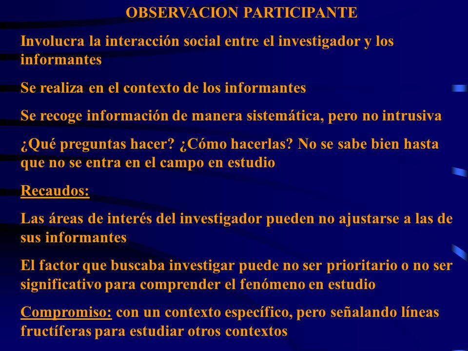 OBSERVACION PARTICIPANTE Involucra la interacción social entre el investigador y los informantes Se realiza en el contexto de los informantes Se recog