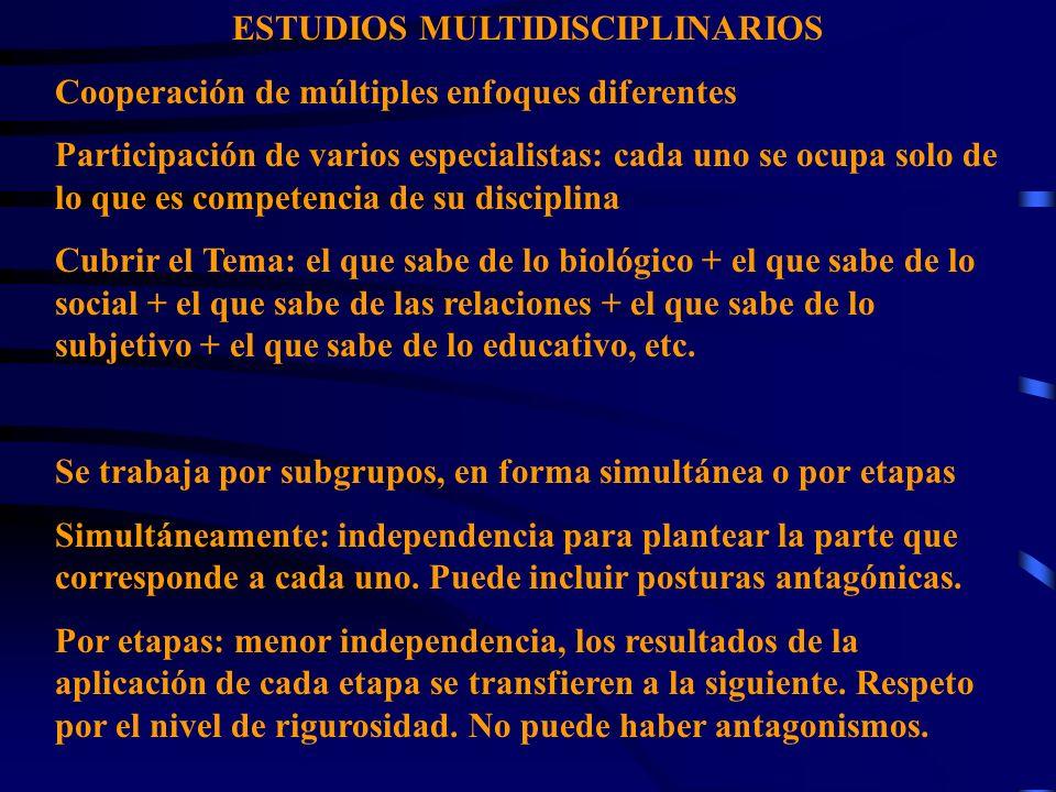 ESTUDIOS MULTIDISCIPLINARIOS Cooperación de múltiples enfoques diferentes Participación de varios especialistas: cada uno se ocupa solo de lo que es c