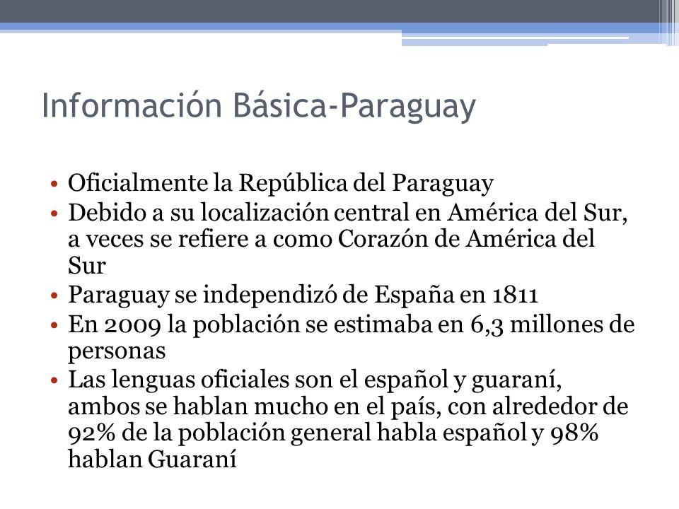 Información Básica-Paraguay Oficialmente la República del Paraguay Debido a su localización central en América del Sur, a veces se refiere a como Cora