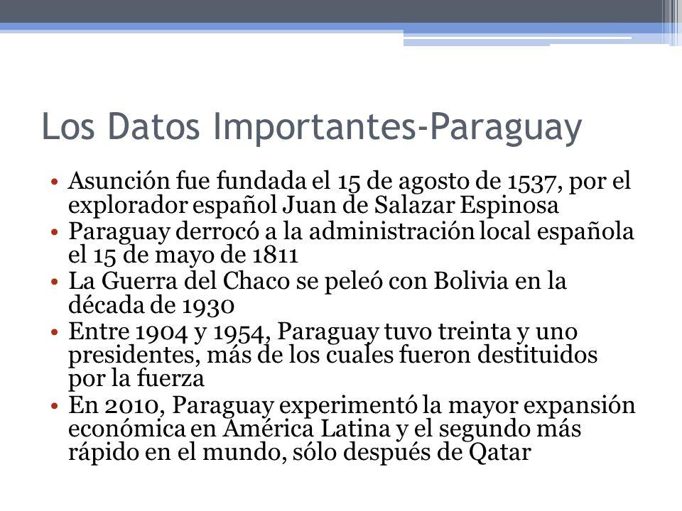 Los Datos Importantes-Paraguay Asunción fue fundada el 15 de agosto de 1537, por el explorador español Juan de Salazar Espinosa Paraguay derrocó a la