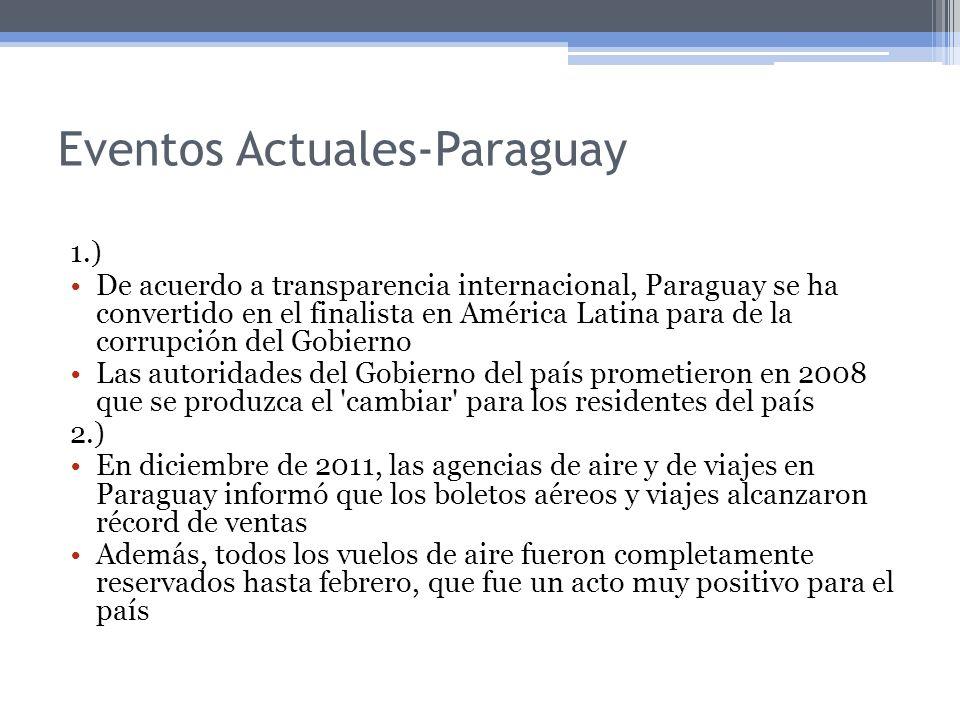 Eventos Actuales-Paraguay 1.) De acuerdo a transparencia internacional, Paraguay se ha convertido en el finalista en América Latina para de la corrupc