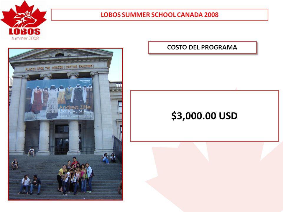 COSTO DEL PROGRAMA $3,000.00 USD