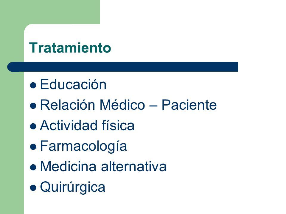 Tratamiento Educación Relación Médico – Paciente Actividad física Farmacología Medicina alternativa Quirúrgica
