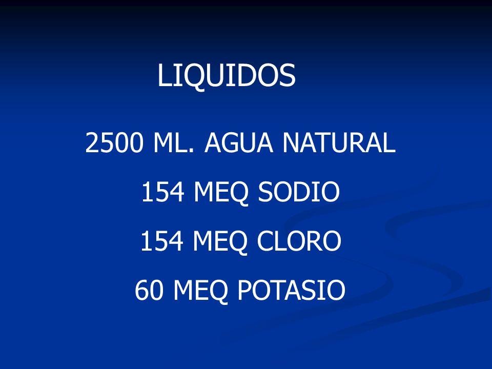 LIQUIDOS 2500 ML. AGUA NATURAL 154 MEQ SODIO 154 MEQ CLORO 60 MEQ POTASIO