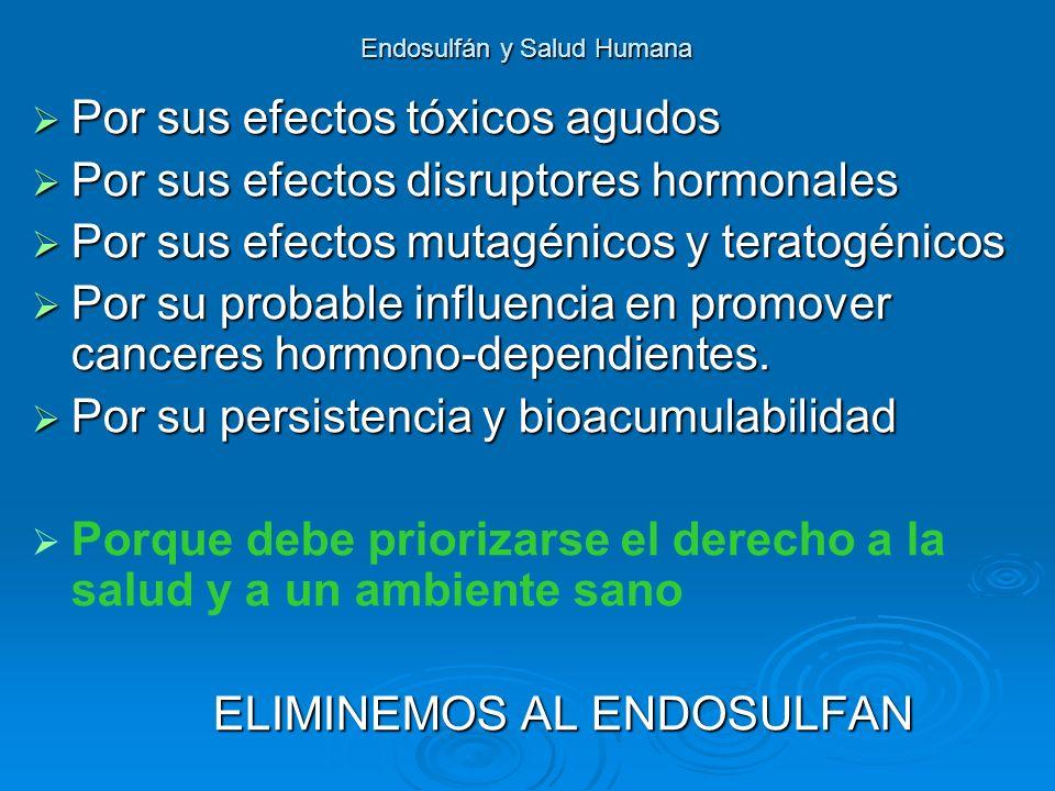 Endosulfán y Salud Humana Por sus efectos tóxicos agudos Por sus efectos tóxicos agudos Por sus efectos disruptores hormonales Por sus efectos disrupt