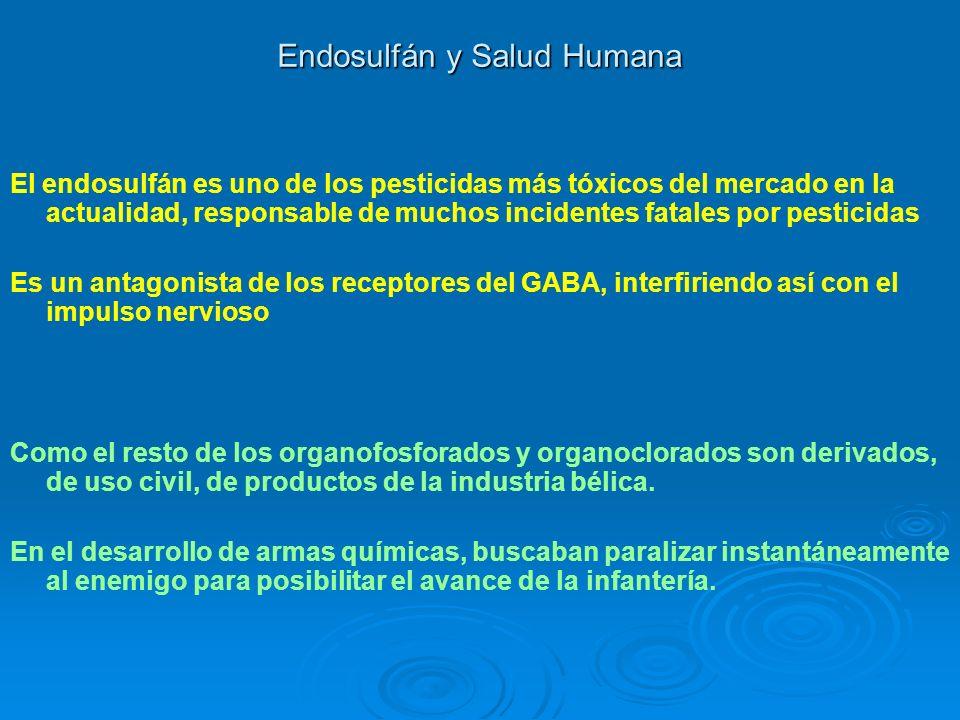 Endosulfán y Salud Humana El endosulfán es uno de los pesticidas más tóxicos del mercado en la actualidad, responsable de muchos incidentes fatales po