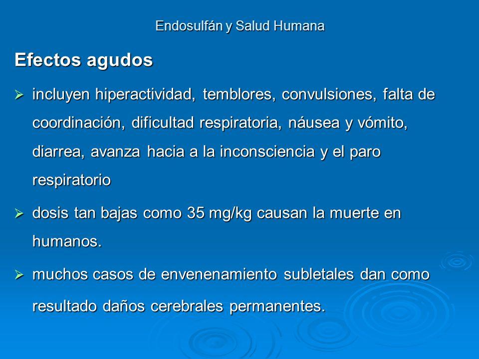 Endosulfán y Salud Humana Efectos agudos incluyen hiperactividad, temblores, convulsiones, falta de coordinación, dificultad respiratoria, náusea y vó