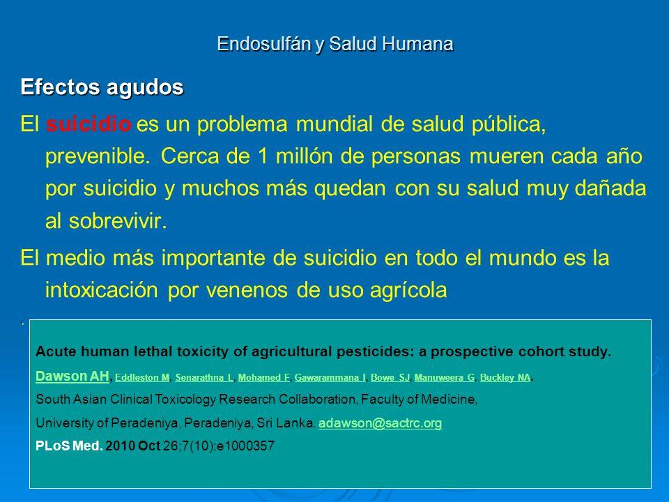 Endosulfán y Salud Humana Efectos agudos El suicidio es un problema mundial de salud pública, prevenible. Cerca de 1 millón de personas mueren cada añ