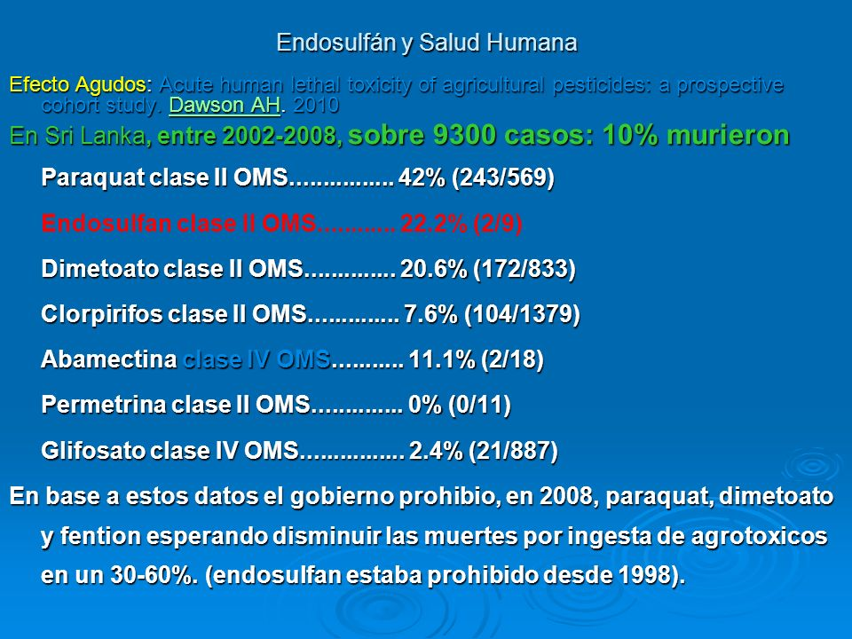 Endosulfán y Salud Humana Name of pesticide WHO Cl a ss Number of admissi ons** DeathsCase fatality (& 95% confidence intervals) Organochlori nes EndosulfanII1383928% (21-37) EndrinIb7445% (1-13) Other Indoxicarb7114% (4-58) Trop Med Int Health.