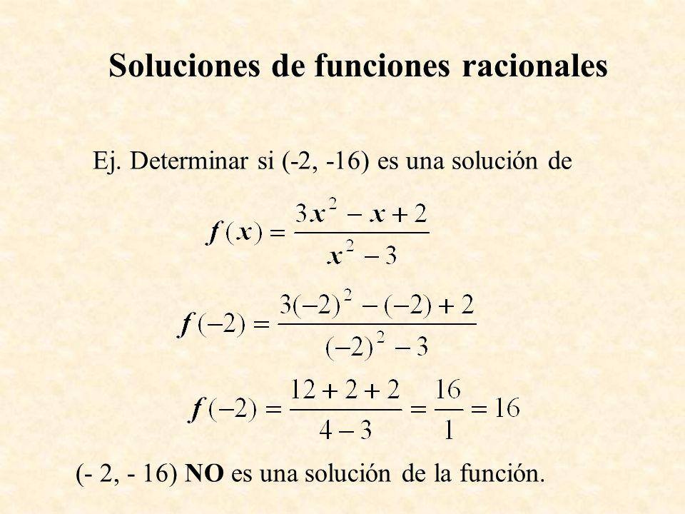 Soluciones de funciones racionales Ej. Determinar si (-2, -16) es una solución de (- 2, - 16) NO es una solución de la función.