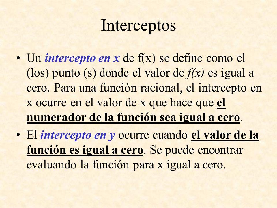 Interceptos Un intercepto en x de f(x) se define como el (los) punto (s) donde el valor de f(x) es igual a cero. Para una función racional, el interce