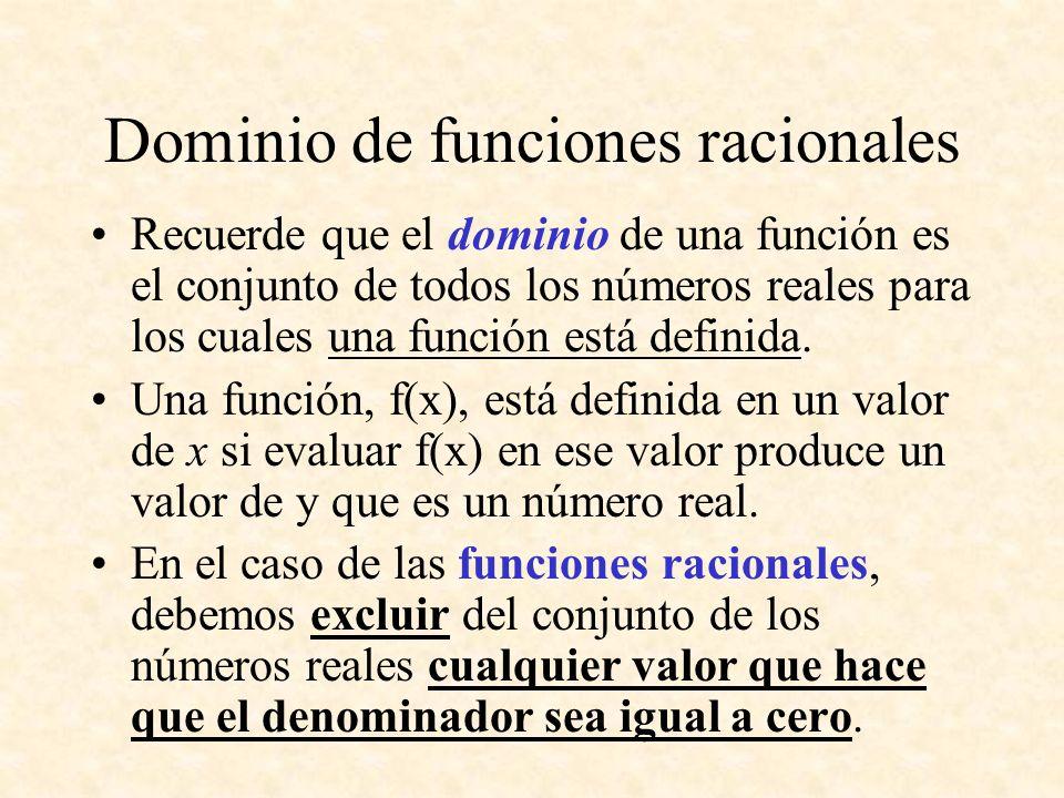 Dominio de funciones racionales Recuerde que el dominio de una función es el conjunto de todos los números reales para los cuales una función está def